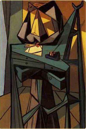Femme à l'écritoire: Tableau de Dominguez